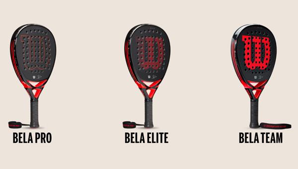 Los tres modelos de palas de la colección Wilson x Bela.