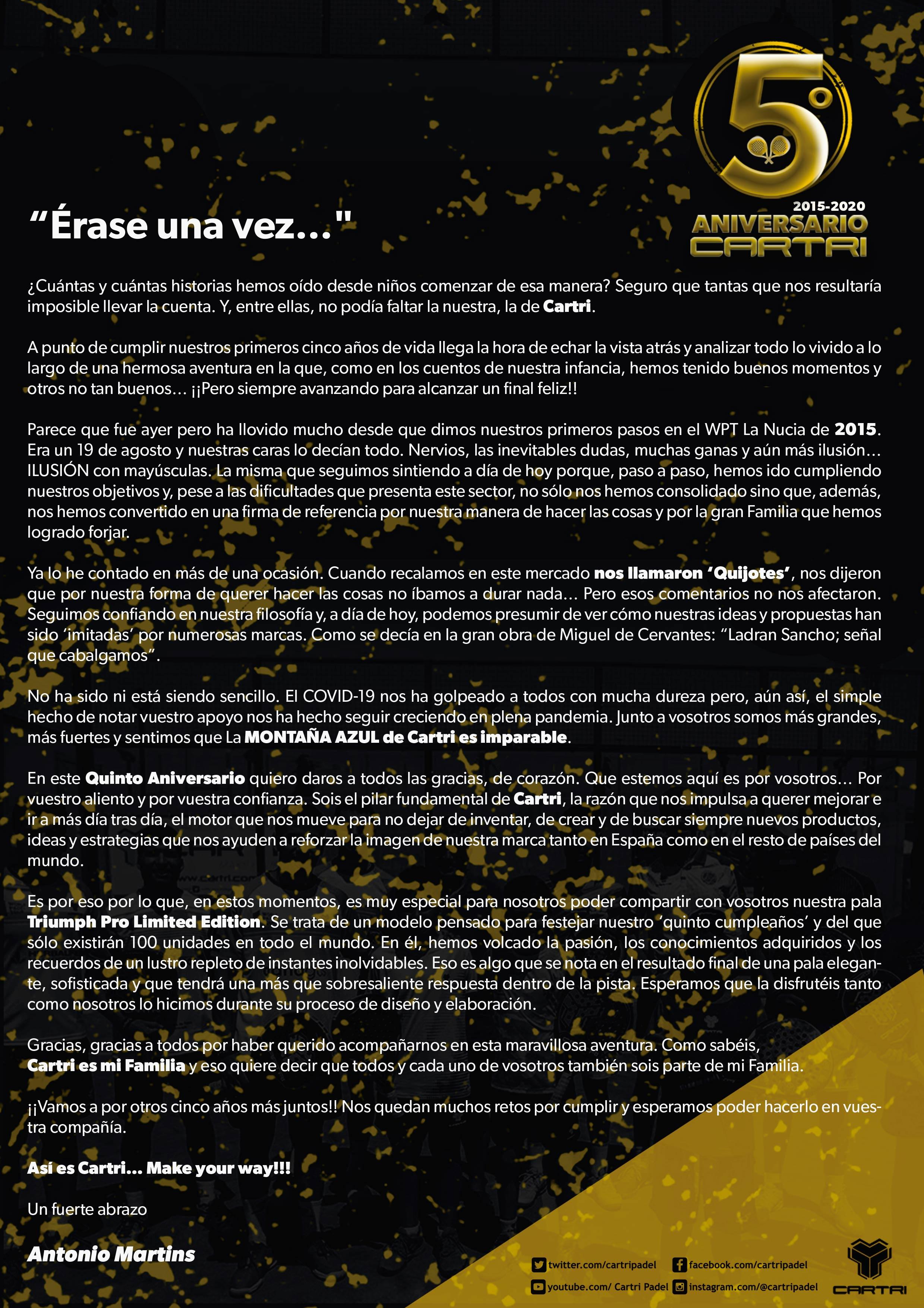 Carta Antonio Martins Cartri Padel quinto aniversario