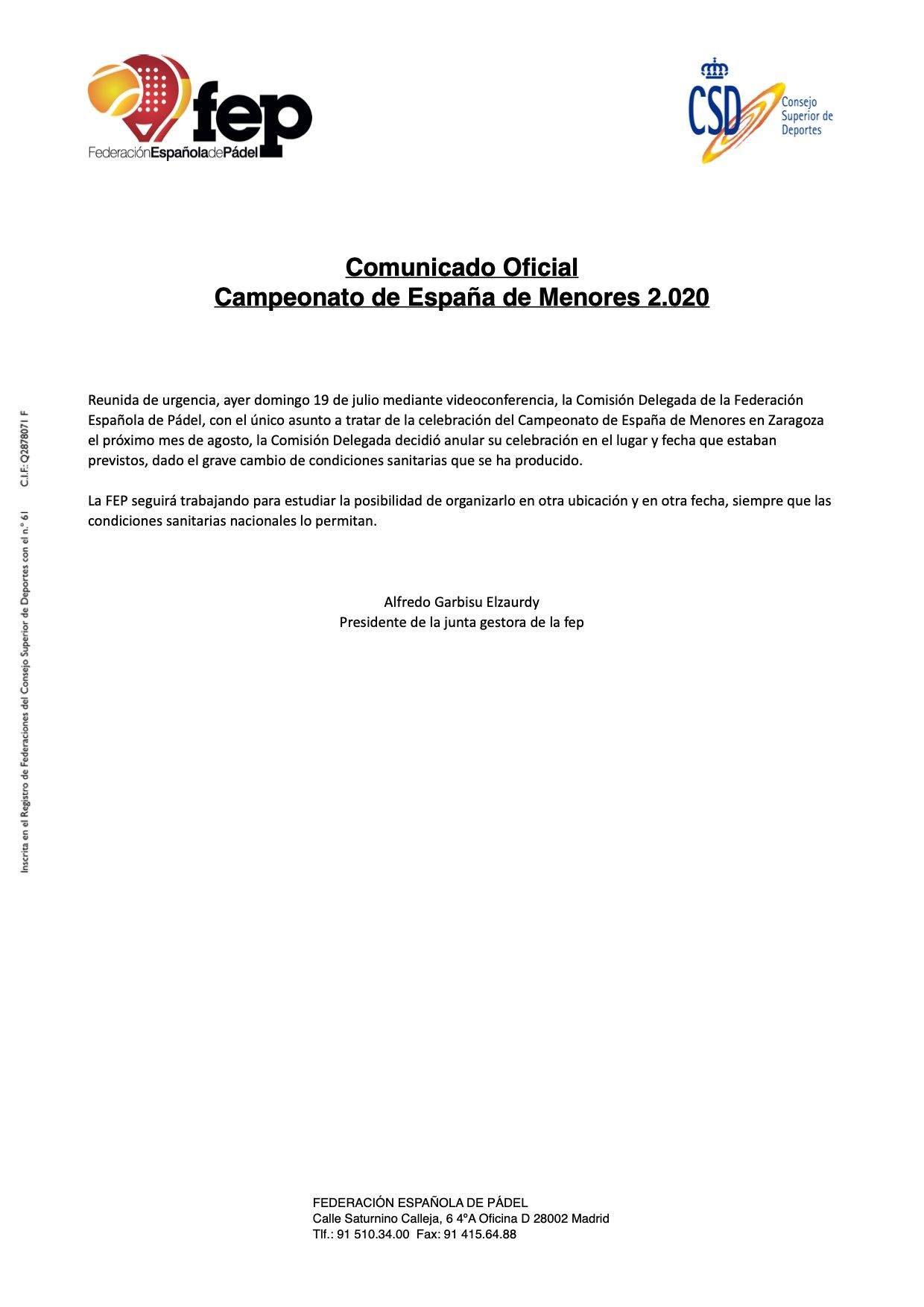 Comunicado FEP Cto España Menores 2020